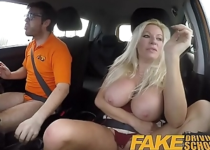 Fake Driving Trainer squirting fat tits milf gets creampie in her gaping pussy