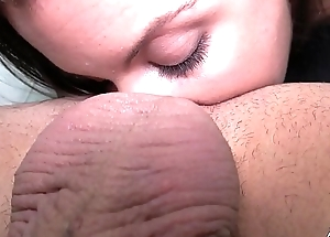 Horny newcomer play with cum when first time helter-skelter front of camera with stranger