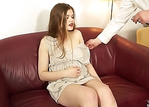 Skinny tall model cheated on fake casting and show her pussy to big cock
