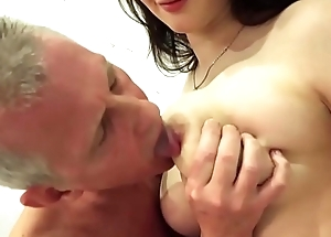 My step sister with big tits fucks grand dad gives him titjob and handjob