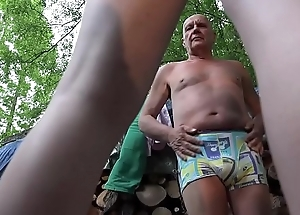 Grandpa and 2 young girls caught and fucked in old young threesome blowjob