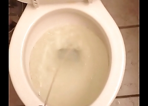 Piss in the toilet after filling a bottle with piss.