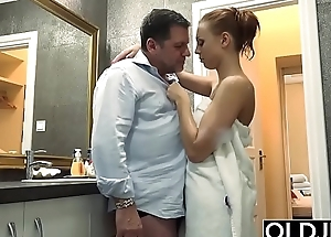 GRANDPA MAKES LOVES TO TEEN STUDENT SCHOOLGIRL FUCKS PUSSY
