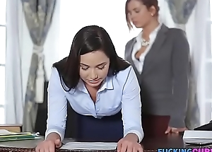 Downcast Secretary Fucked By Boss Thither Strap-on Dildo