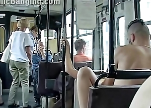 Extreme risky public transportation sex couple in front of all the passengers
