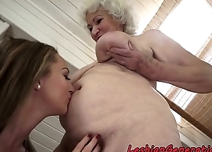 Muffdiving babe in arms pleases lesbian grandma