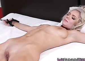 Bound blonde gets facial