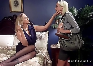 Blonde milf ties up and fucks slim babe
