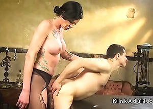 Tall shemale in pantyhose bangs male slave