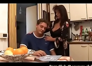 mom is comforting her sad son by giving him boobjob, blowjob with the kitchen and letting him fuck her