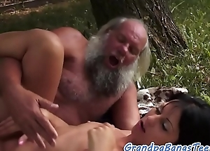 Sweet eurobabe fucked outdoors by old man