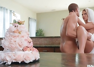 Lustful bride enjoys hardcore sex in the kitchen