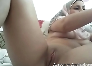 Arab babe plays on camera